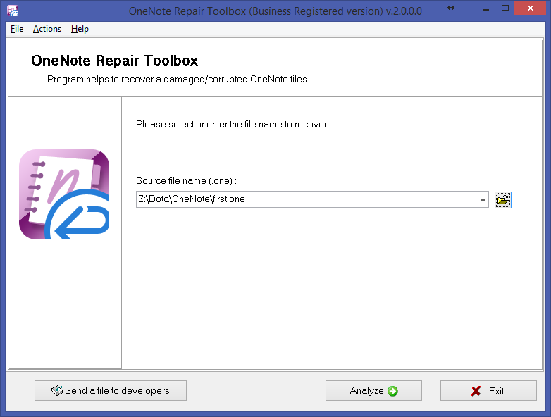 OneNote Repair Toolbox Screenshot 2