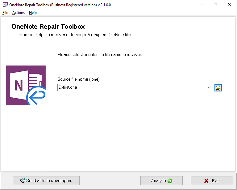 OneNote Repair Toolbox Screenshot 3