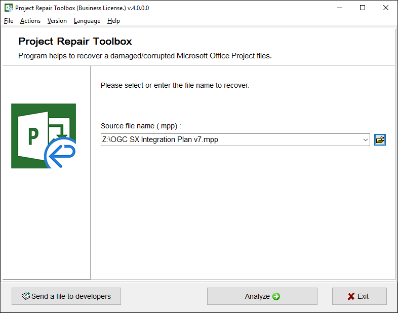 Project Repair Toolbox Screenshot 2