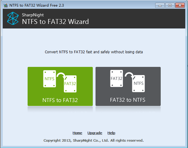 NTFS to FAT32 Wizard Free Edition Screenshot