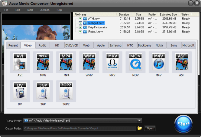 Aoao Movie Converter Screenshot
