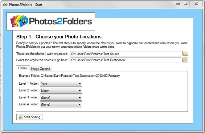 Photos2Folders Screenshot 1