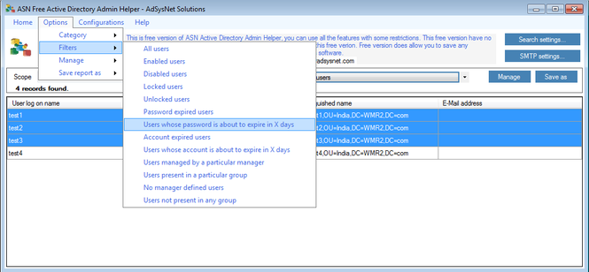 ASN Free Active Directory Admin Helper Screenshot