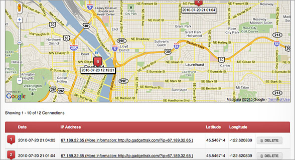 GadgetTrak Screenshot 1