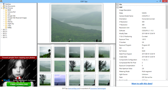 EXIF Spy Screenshot