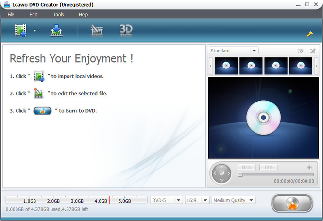 Leawo MP4 to DVD Converter Screenshot 1