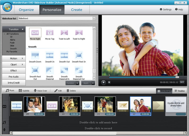 Wondershare DVD Slideshow Builder Deluxe Screenshot 1