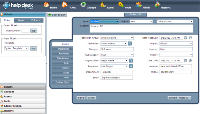 Help Desk Premier - Help Desk Software Screenshot
