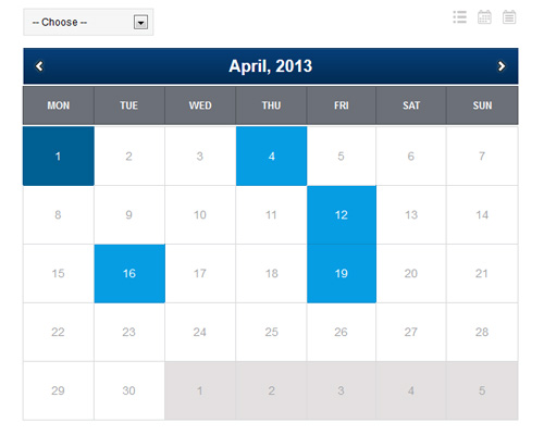 PHP Event Calendar Screenshot