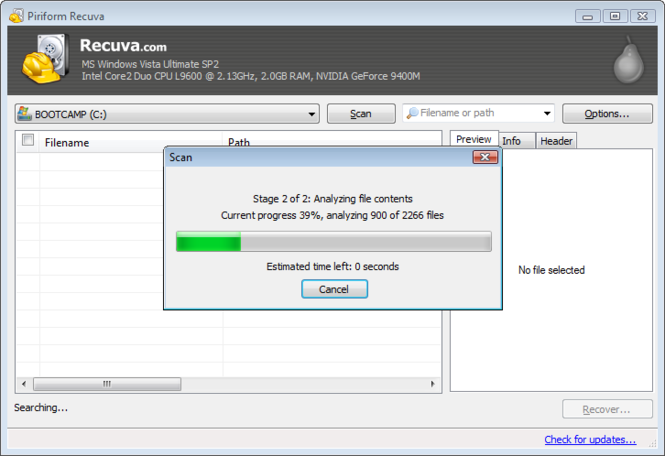 Recuva Portable Screenshot