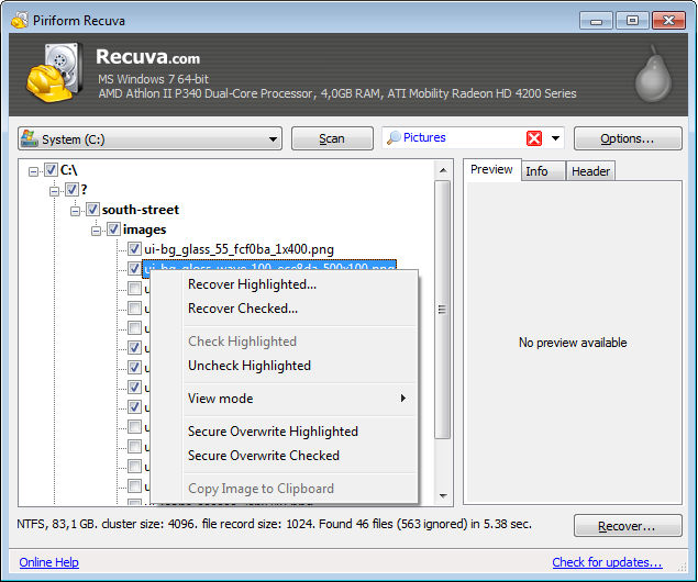 Recuva Portable Screenshot 3