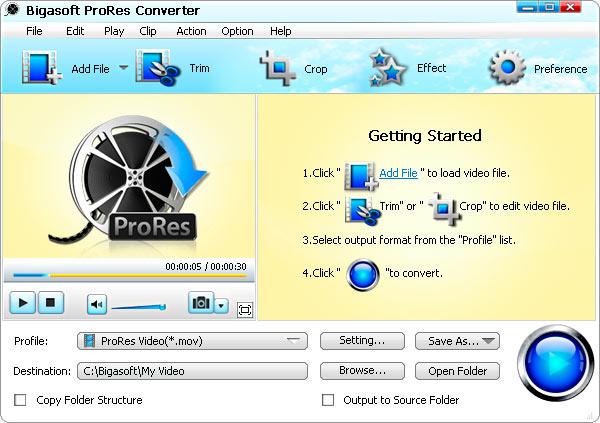 Bigasoft ProRes Converter Screenshot 1