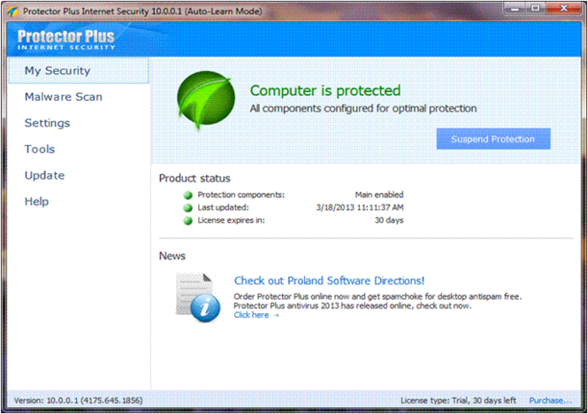 Protector Plus Internet Security Screenshot