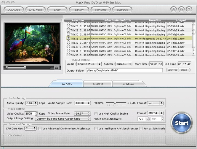 MacX Free DVD to M4V Converter for Mac Screenshot 1