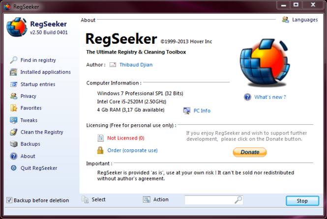 RegSeeker Portable Screenshot