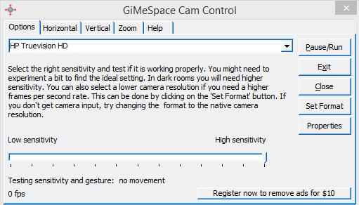 GiMeSpace Cam Control Screenshot 2