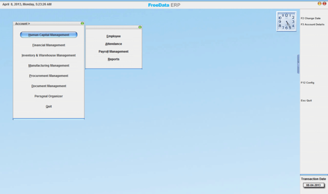 FreeData ERP Screenshot 1