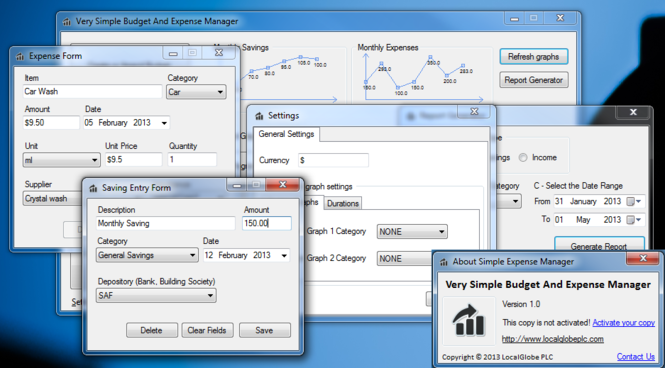 Very Simple Budget And Expense Manager Screenshot 1