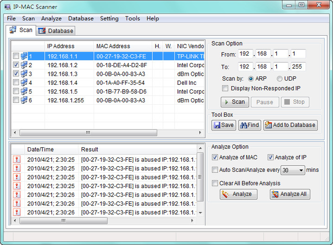 AthTek IP - MAC Scanner Screenshot