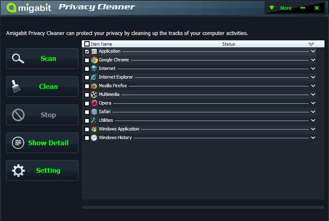 Amigabit Privacy Cleaner Screenshot 1
