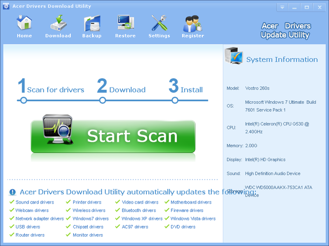 Acer Drivers Download Utility Screenshot 1