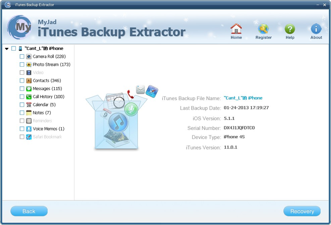 MyJad iTunes Backup Extractor Screenshot 1
