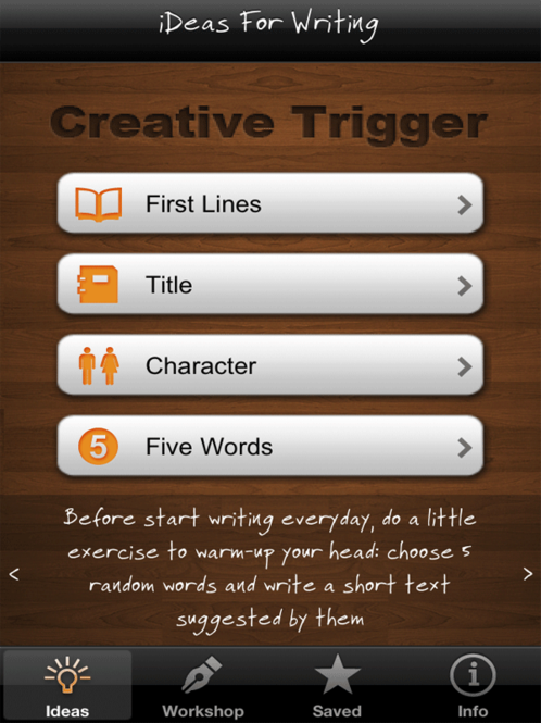 iDeas for Writing - Creative prompts, tips and exercises to beat writer's block Screenshot