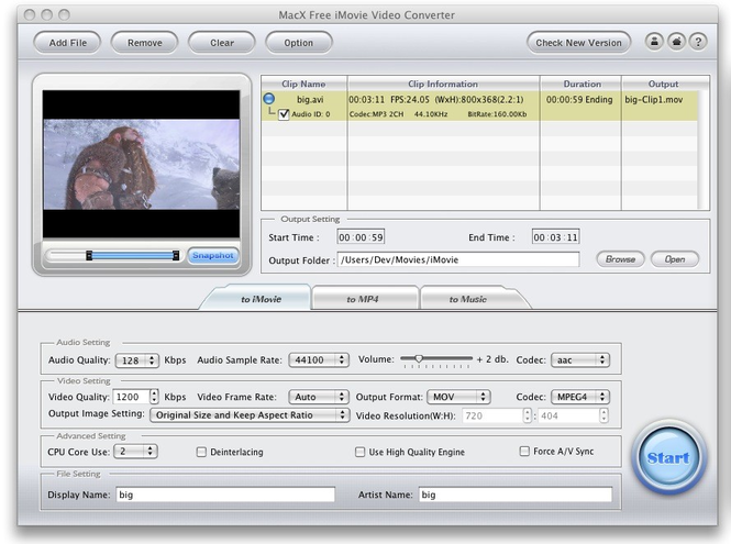 MacX Free iMovie Video Converter Screenshot 1