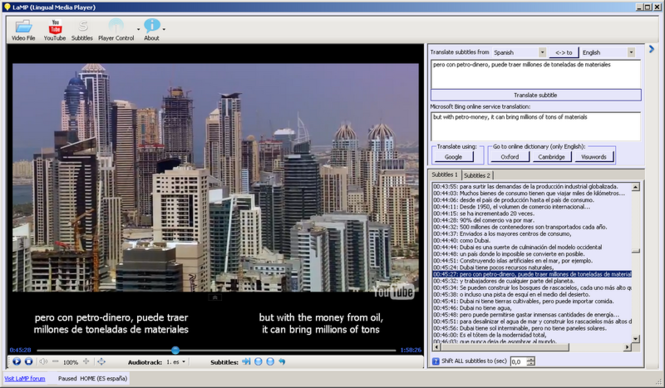 Lingual Media Player Screenshot