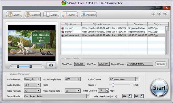 WinX Free MP4 to 3GP Converter Screenshot 2
