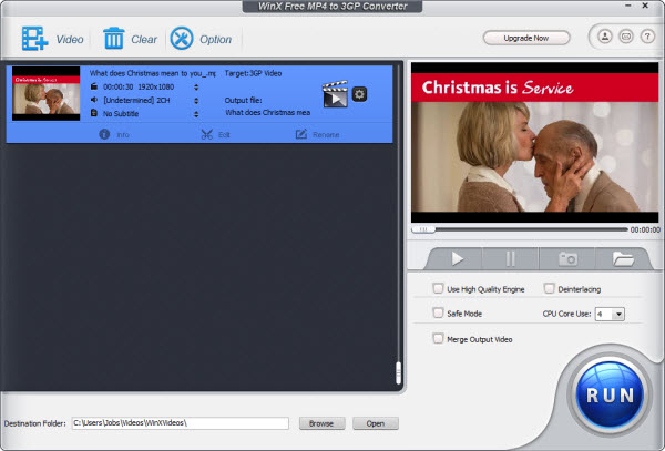 WinX Free MP4 to 3GP Converter Screenshot 1