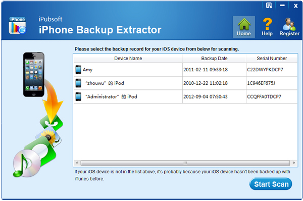 iPubsoft iPhone Backup Extractor Screenshot 1