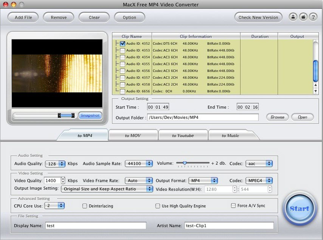 MacX Free MP4 Video Converter Screenshot