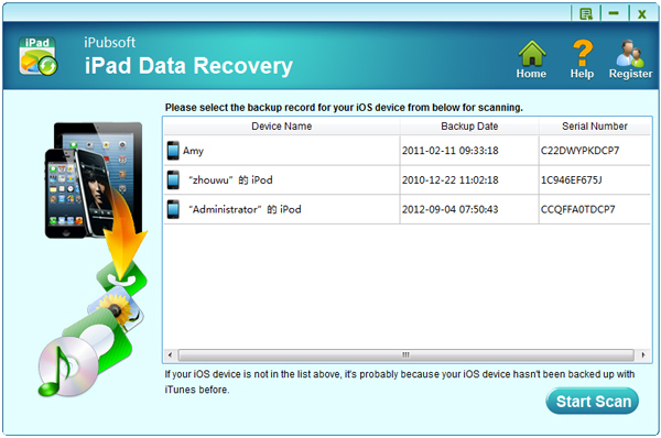 iPubsoft iPad Data Recovery Screenshot