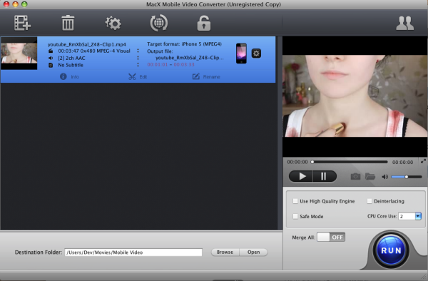 MacX Mobile Video Converter Screenshot 1