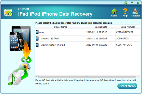 iPubsoft iPad iPhone iPod Data Recovery Screenshot