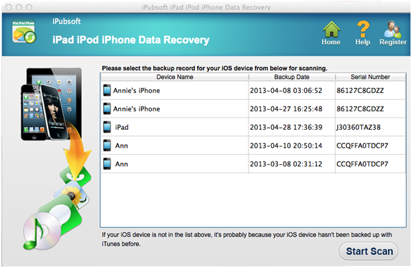 iPubsoft iPad iPhone iPod Data Recovery for Mac Screenshot