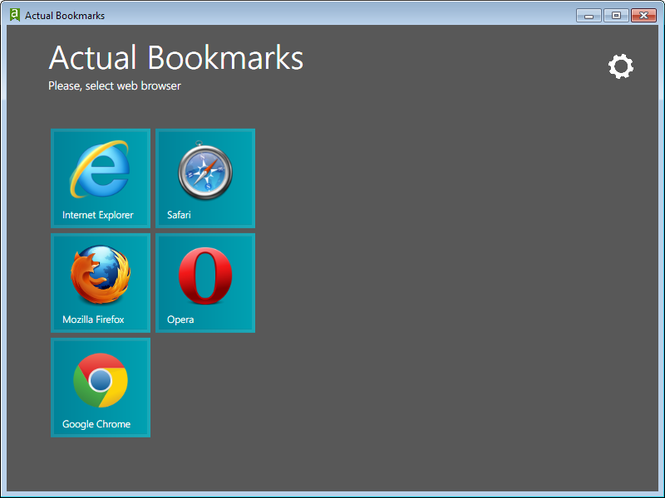 Actual Bookmarks Screenshot