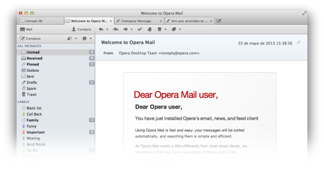 Opera Mail Screenshot
