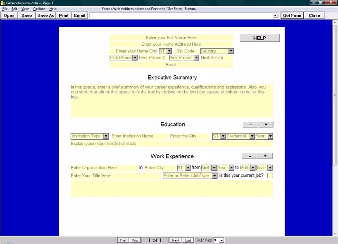 Generic Resume Reporting Tool Screenshot 1