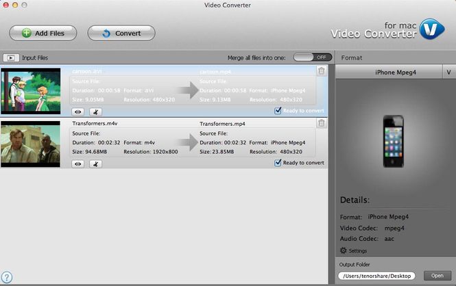 Tenorshare Video Converter for Mac Screenshot
