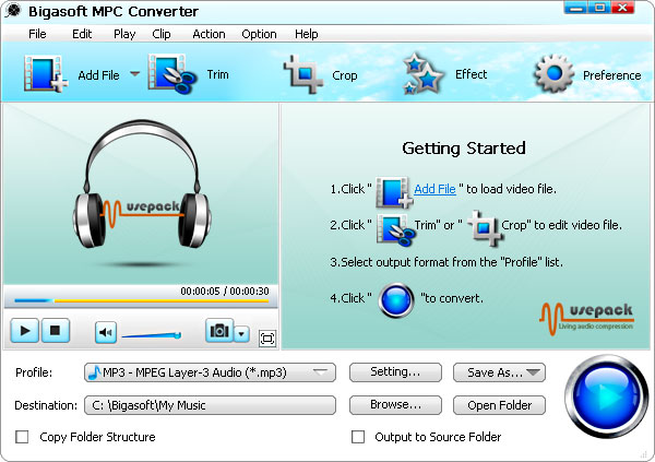 Bigasoft MPC Converter Screenshot 1