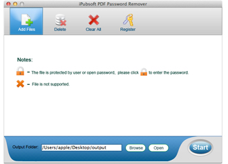 iPubsoft PDF Password Remover for Mac Screenshot