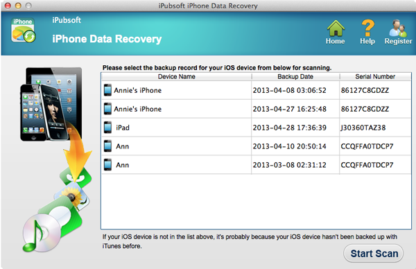 iPubsoft iPhone Data Recovery for Mac Screenshot