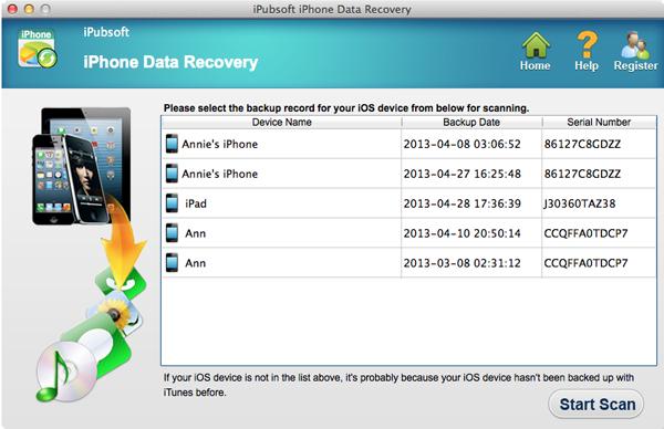 iPubsoft iPhone Data Recovery for Mac Screenshot 1
