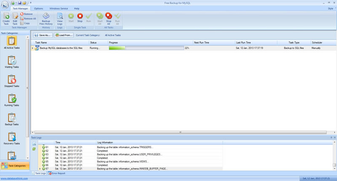 Free Backup for MySQL Screenshot 1