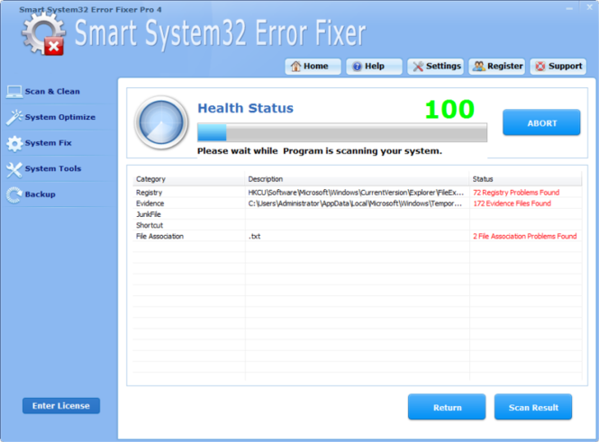 System32 Error Fixer Software Screenshot 1