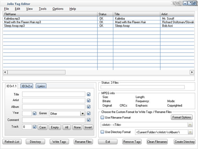 Jolix Tag Editor Screenshot 1