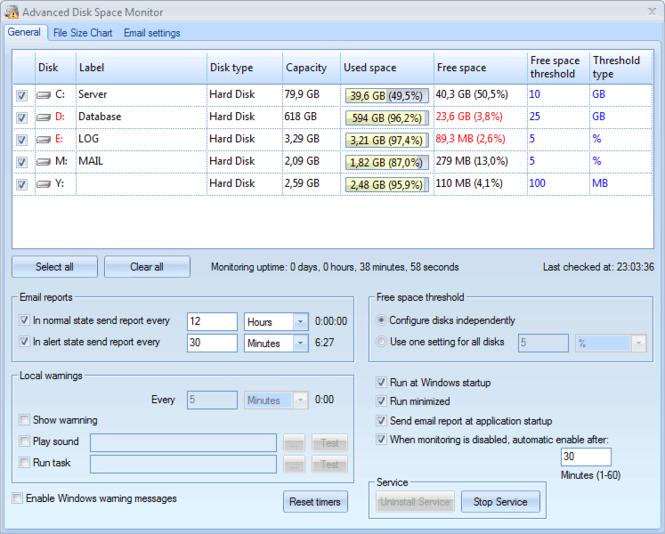 Advanced Disk Space Monitor Screenshot 1