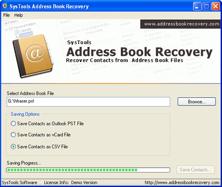 Address Book Recovery Tool Screenshot 1